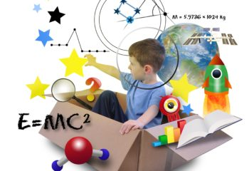 17892591 - a young boy is using his imagination in a space box